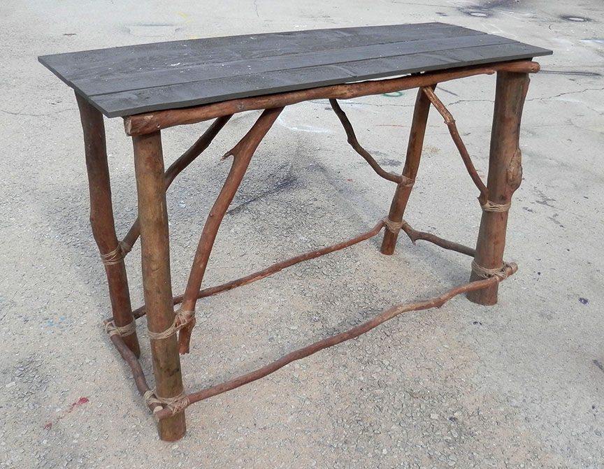 Great Primitive Altar Table   Legs Made With Real Tree Branches