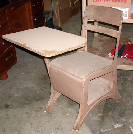 Vintage antique wooden student desks