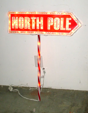 north pole sign lighted sign directional wire outdoor christmas - Neon Outdoor Christmas Decorations