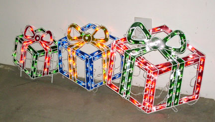 gift boxes lighted 3 individual boxes 18h 15h 12h wire construction - Outdoor Christmas Decorations Gift Boxes